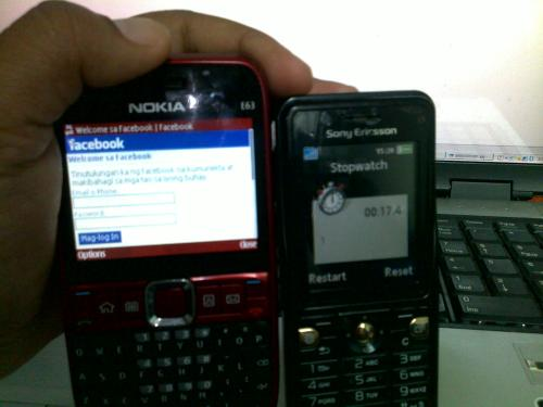 Facebook Log-in Page (17.4 seconds with Globe gprs)