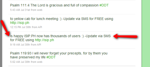 the tweet that indicates that isip.ph reached 1,000 users