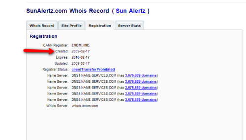 SunAlertz.com domain registration date