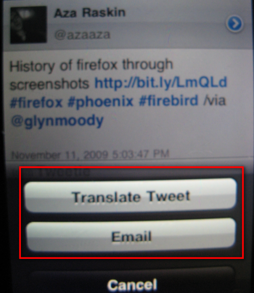 TwitBird's Email and Translate Feature